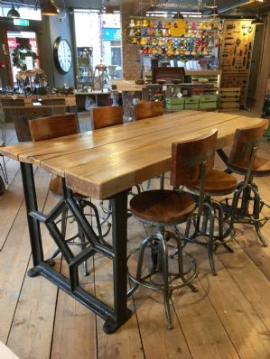 Industrial Dining Table With 6 Hight Adjustable Stools